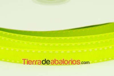 Lazo Gross Grain 10mm, Verde Lima Fluor Pespunte Blanco