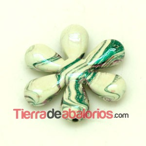 Flor Acrilica 34mm White Opal Irisado