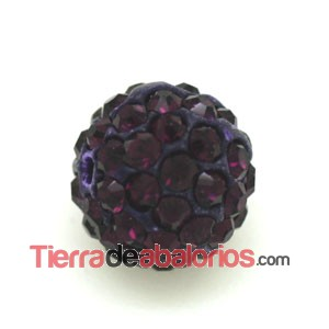 Bola Shamballa 8mm Agujero 1mm Amatista