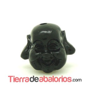 Happy Buddha 19x21mm Agujero 1,8mm Negro