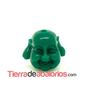 Happy Buddha 19x21mm Agujero 1,8mm Verde Oscuro