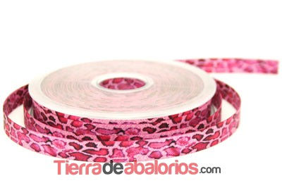 Lazo 10mm Estampado Leopardo Fucsia
