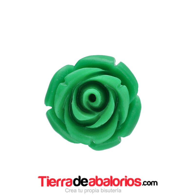 Flor de Resina Base Plana 14mm Agujero 1,5mm Verde