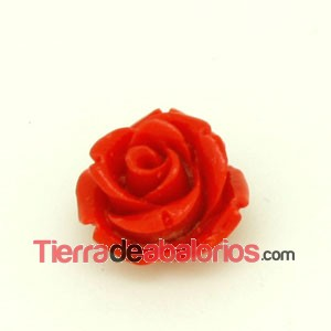 Flor de Resina Base Plana 14mm Agujero 1,5mm Roja