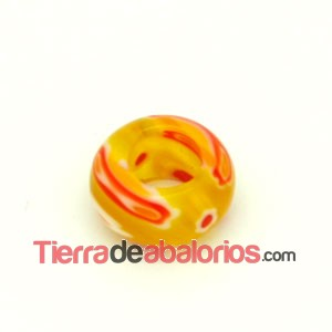Donut Murano 13x7mm Agujero 6mm Amarillo