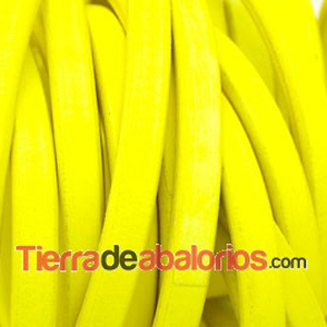 Cuero Regaliz 10x6mm - Amarillo Fluorescente (20cm)