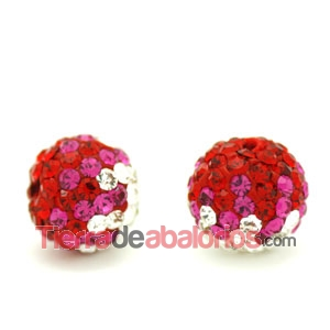 Bola Shamballa 10mm Agujero 1,2mm Degradee Rojo