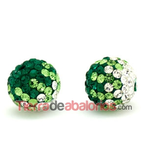 Bola Shamballa 10mm Agujero 1,2mm Degradee Verde