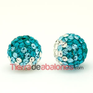 Bola Shamballa 10mm Agujero 1,2mm Degradee Azul