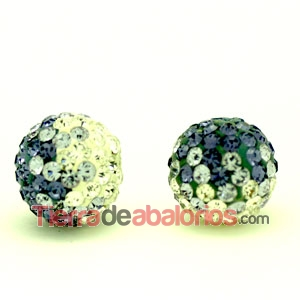 Bola Shamballa 10mm Agujero 1,2mm Degradee Morada
