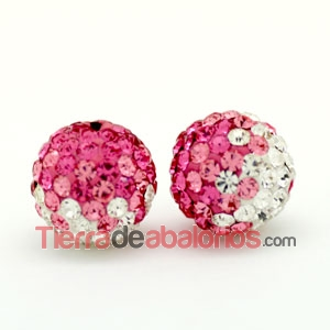 Bola Shamballa 10mm Agujero 1,2mm Degradee Rosas