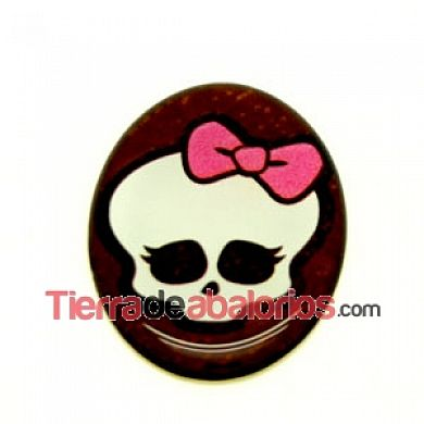 Cabujón Oval Base Plana 40x30mm Calavera Monster
