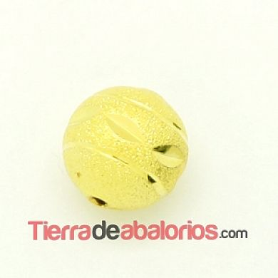 Bola 12mm Agujero 1,8mm Tallada Brillante Dorada