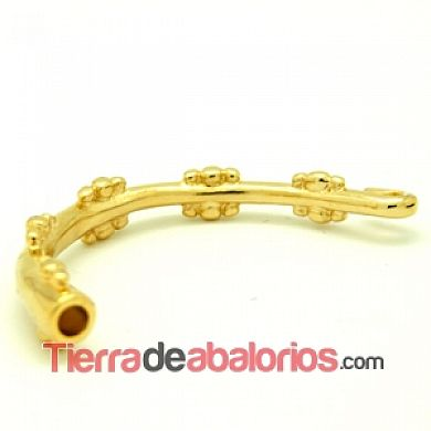 Pulsera Media Caña con Adornos, 60mm Agujero 4mm Dorada
