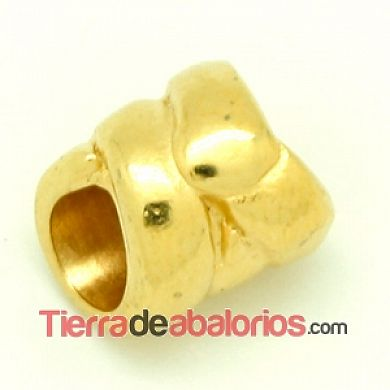 Canutillo Cuerda 12x10mm Agujero 6mm Dorado