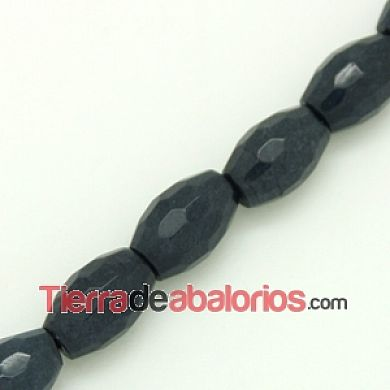Agata Barril 12x8mm Agujero 1mm Gris