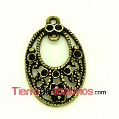 Filigrana Colgante Oval 30x19mm, Oro Viejo