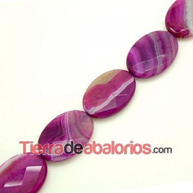 Agata Bandeada Facetada Oval 35x25mm Agujero 1,5mm Fucsia