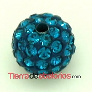 Bola Shamballa 10mm Agujero 1mm Blue Zircon